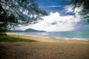 Tropical Scenery Under The Clear Sky In Mai Khao Beach, Thailand
